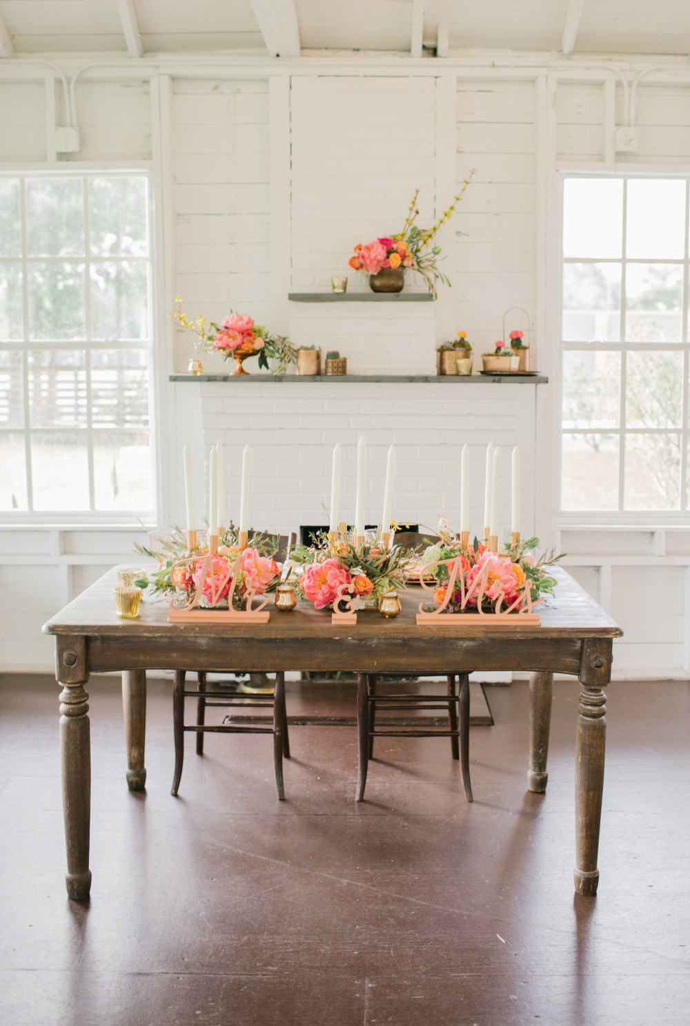 sweetheart table styled with pink peonies