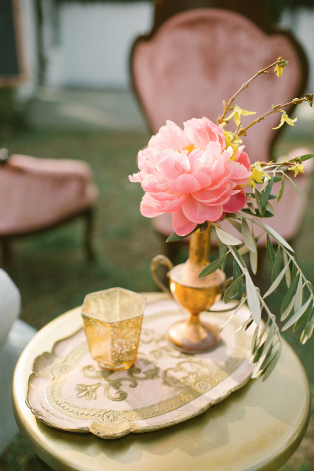 pink and gold wedding ceremony floral decor