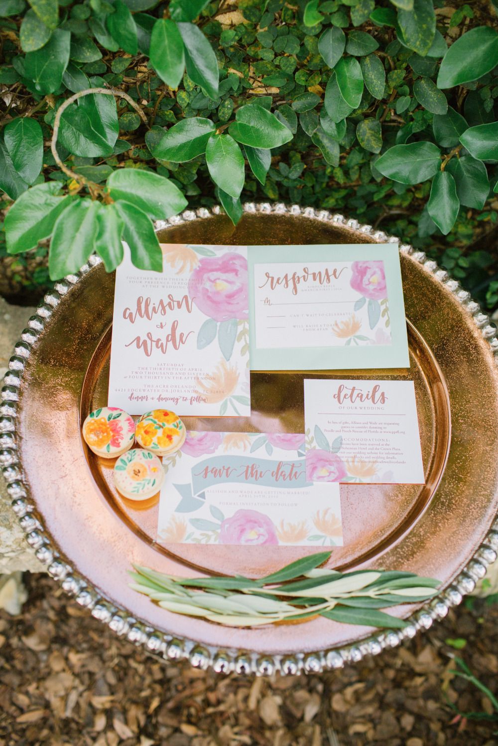 vibrant watercolor floral wedding invitations