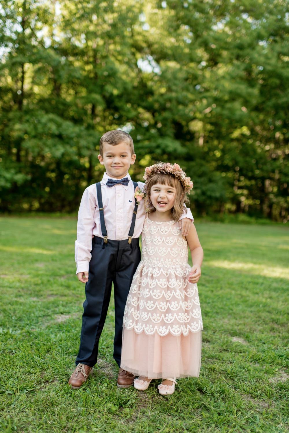 Ring bearer and cute flower girl