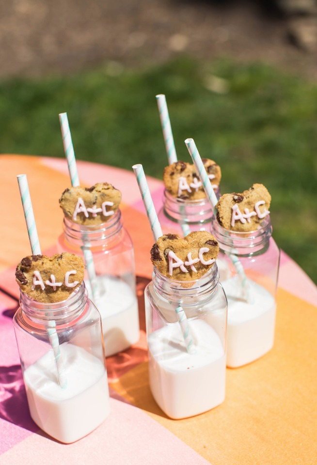 heart shaped wedding cookies and milk