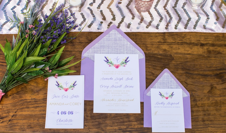 purple and flower inspired wedding invitations suite