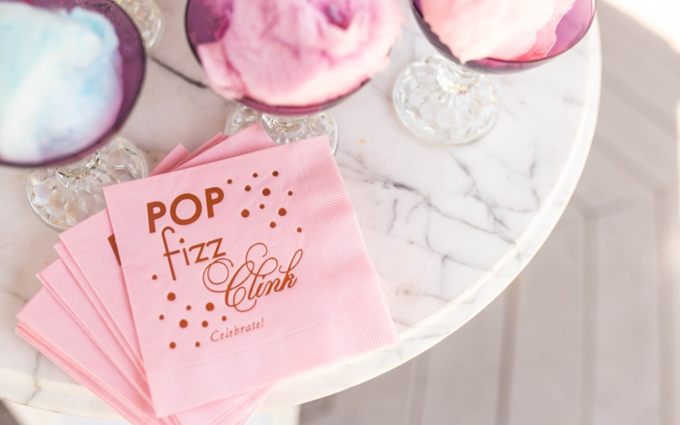 gold foil pop fizz clink cocktail napkins