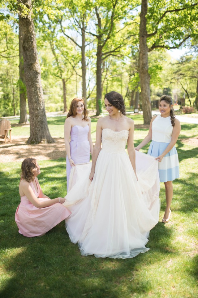 Hayden Olivia Bridal wedding gown with bridesmaids in Lula Kate