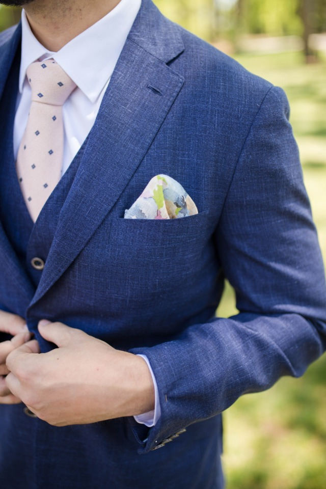 watercolor inspired pocket square with navy suite and blush polka dot tie
