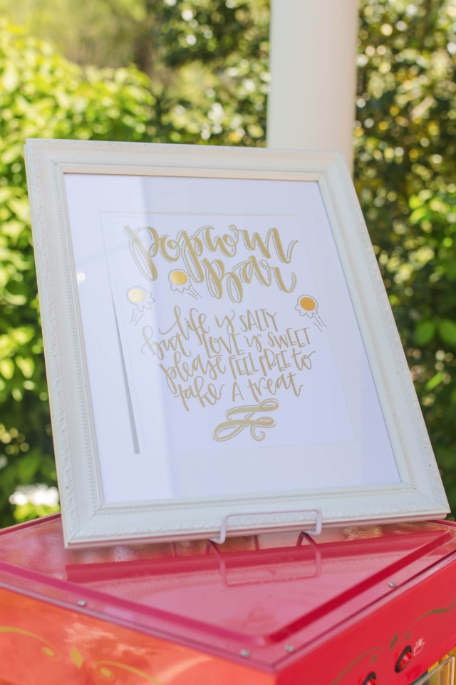 gold and white custom calligraphy popcorn bar sign