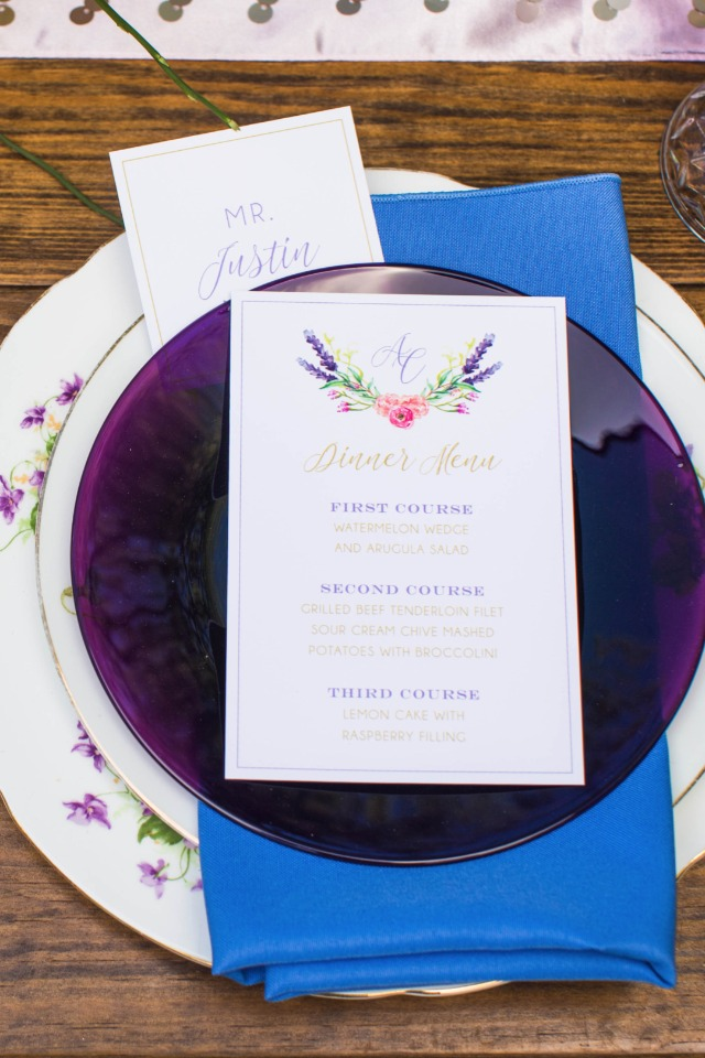 vintage violet china and wedding invitations