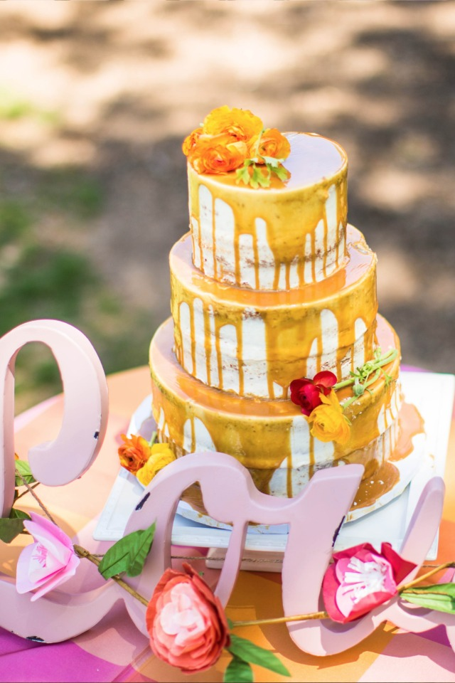 nearly naked drizzle caramel cake from Edible Art Cake Shop