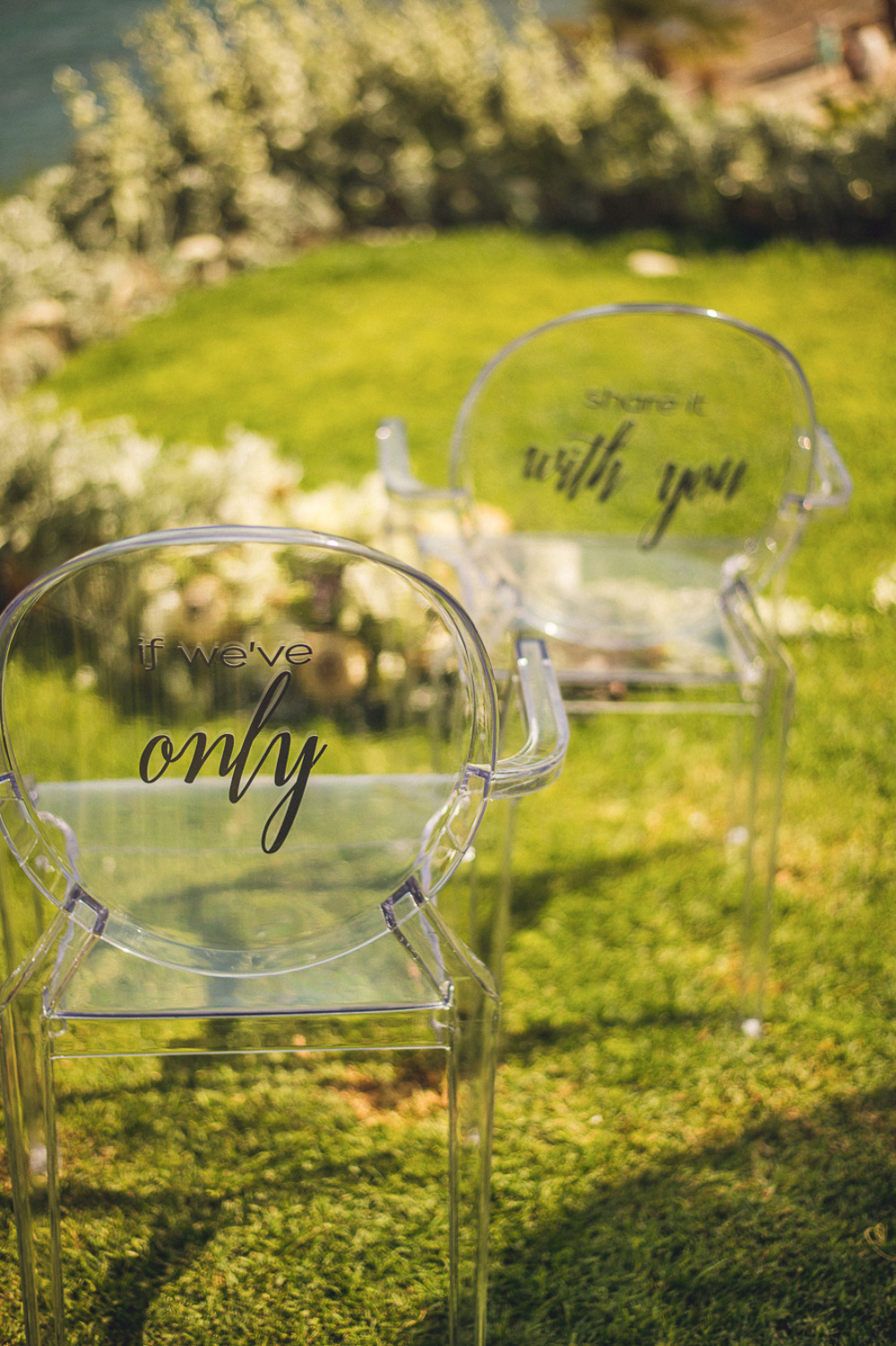 clear wedding chairs with vinyl decals