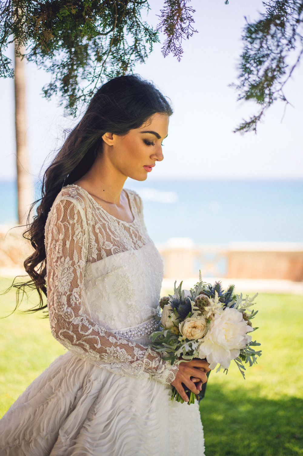 romantic bridal look with lace wedding dress