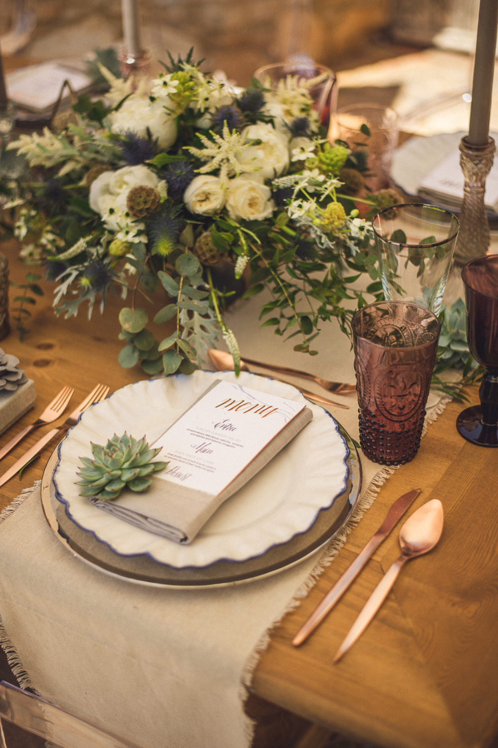 modern rustic wedding place setting