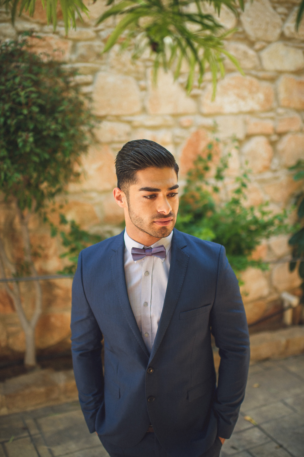 dapper navy groom attire