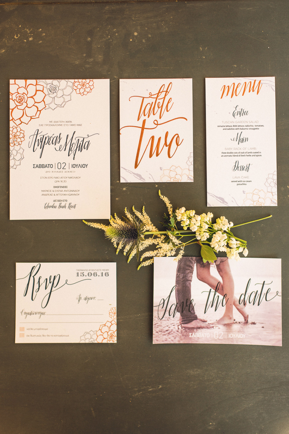 modern script wedding invitation suite