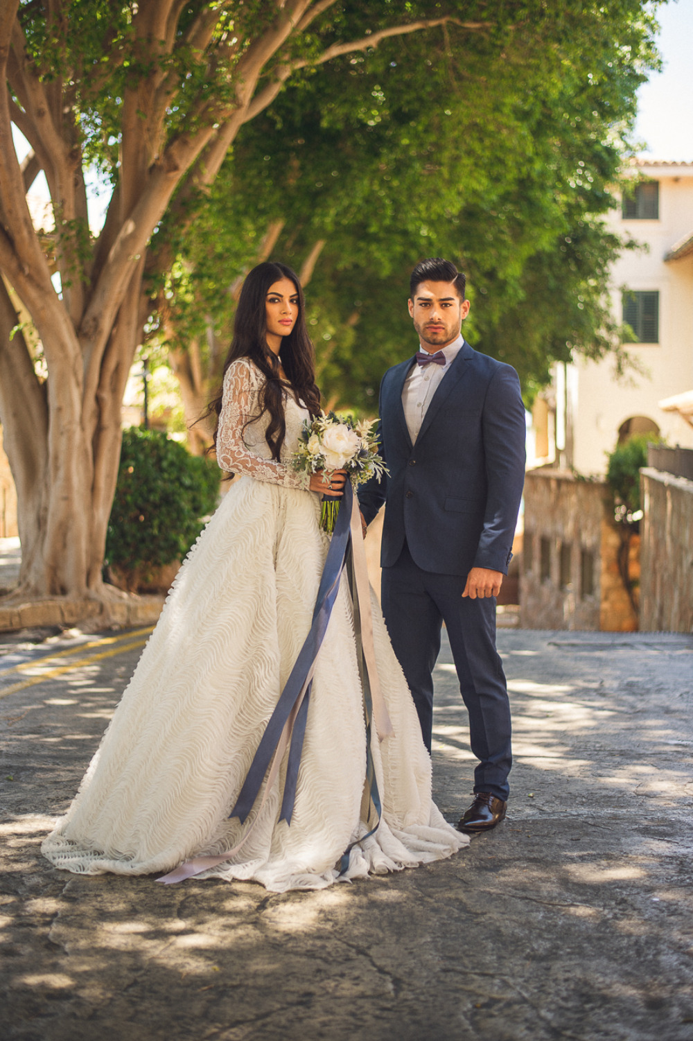 navy blue and white wedding couple look
