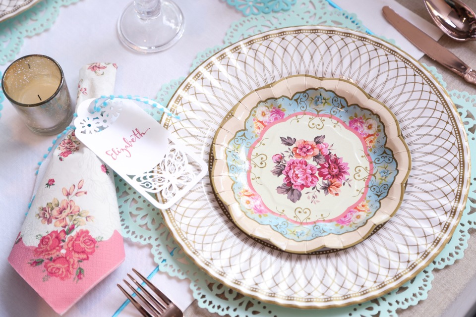 pretty gold white and teal place setting