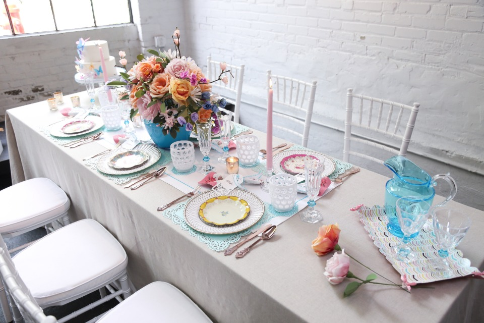 shabby chic table setting in assorted colors