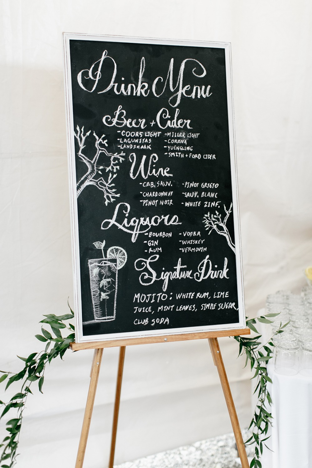 Chalkboard bar menu
