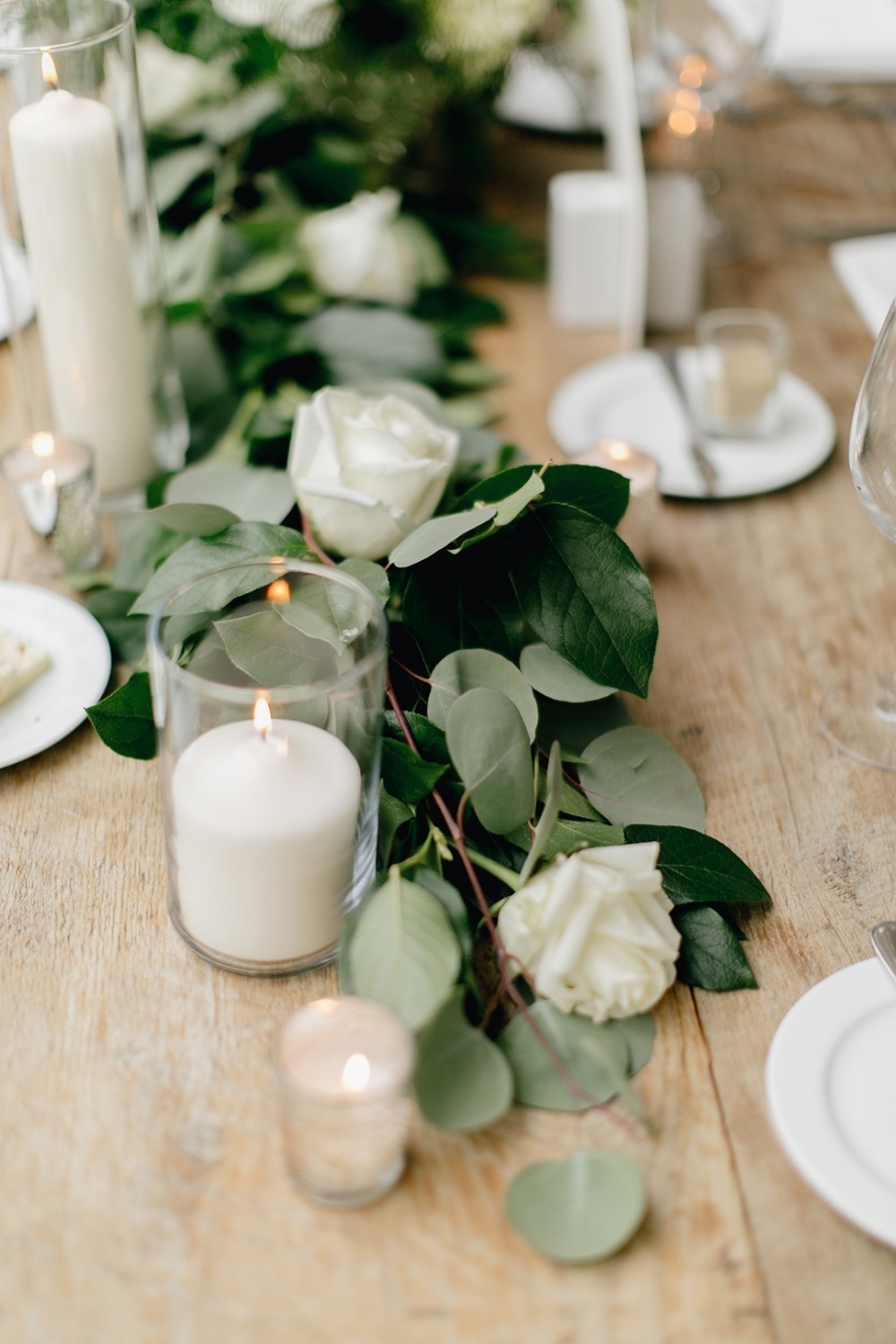 Natural White Grey and Green Wedding