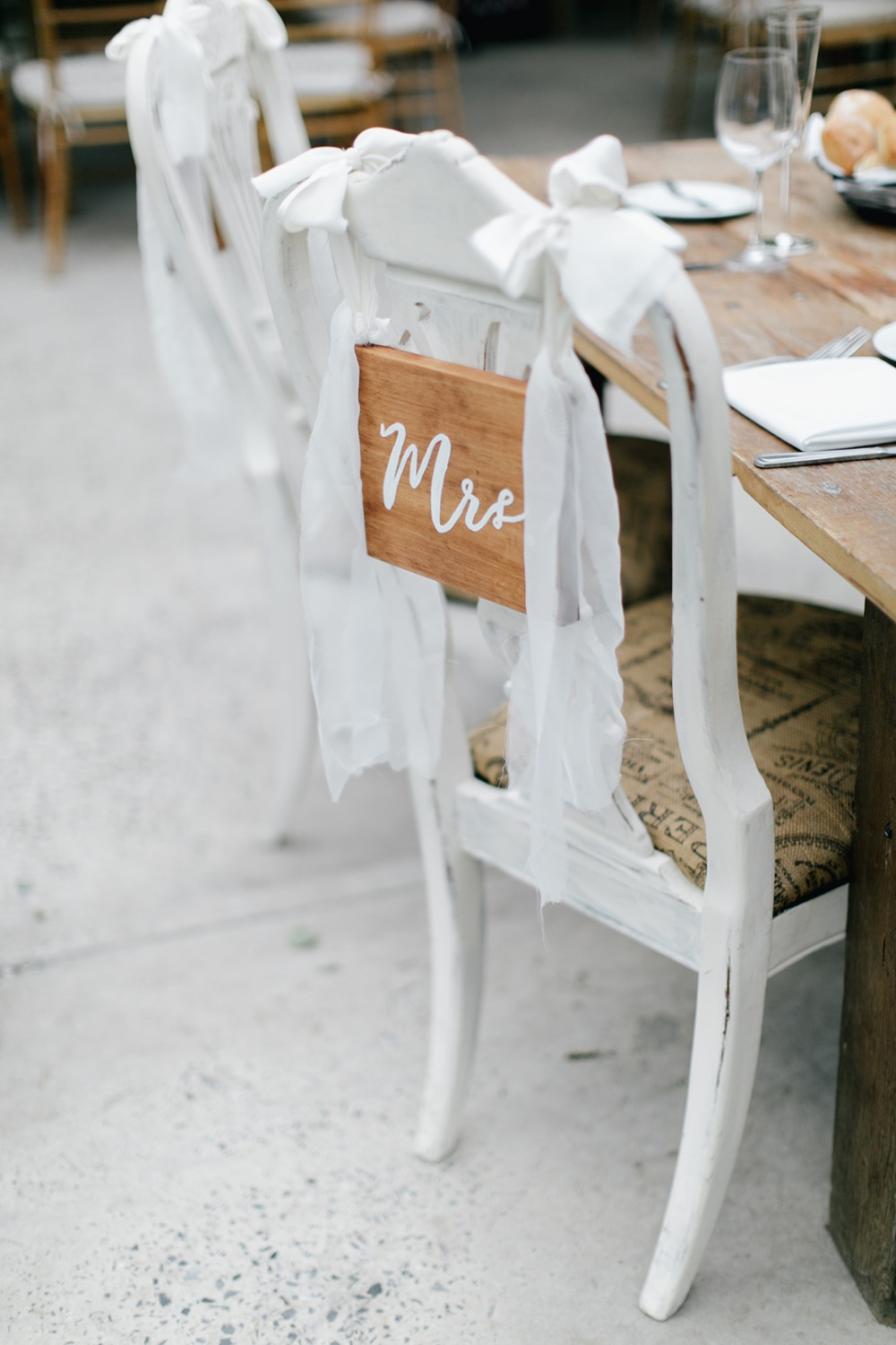 Wood mr and mrs chair signs