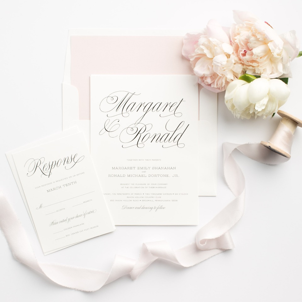 soft pink and scrolling calligraphy wedding invitations from Shine Wedding Invitations