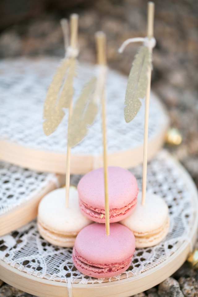 feather topped macarons