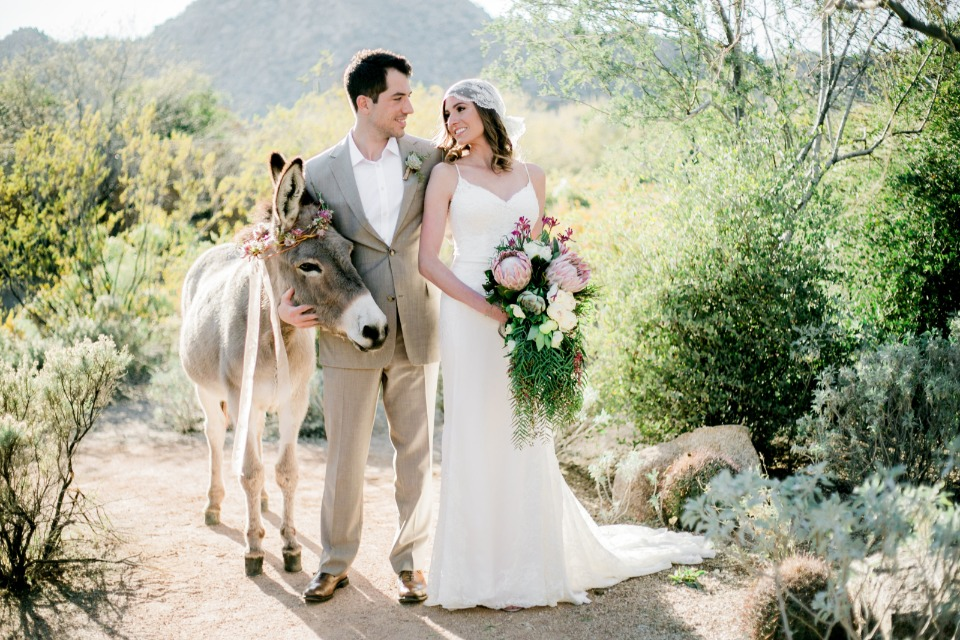bride groom and burro in desert style
