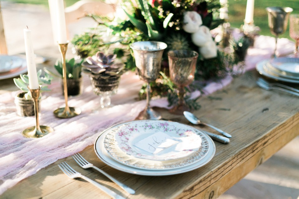 sweet china and farm table decor