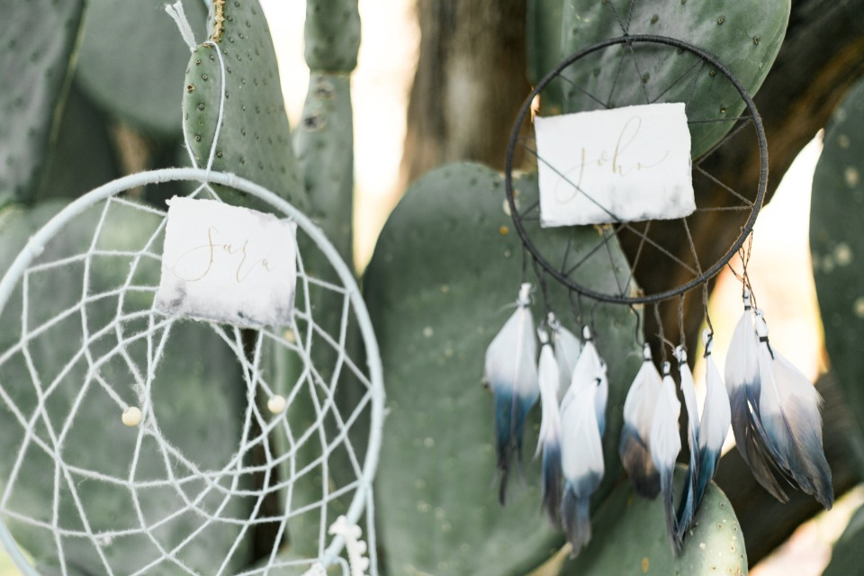 dreamcatcher escort card display idea