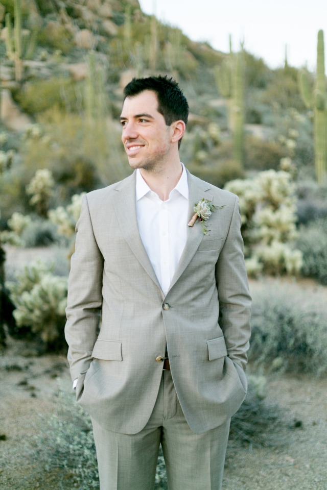sand colored wedding suit