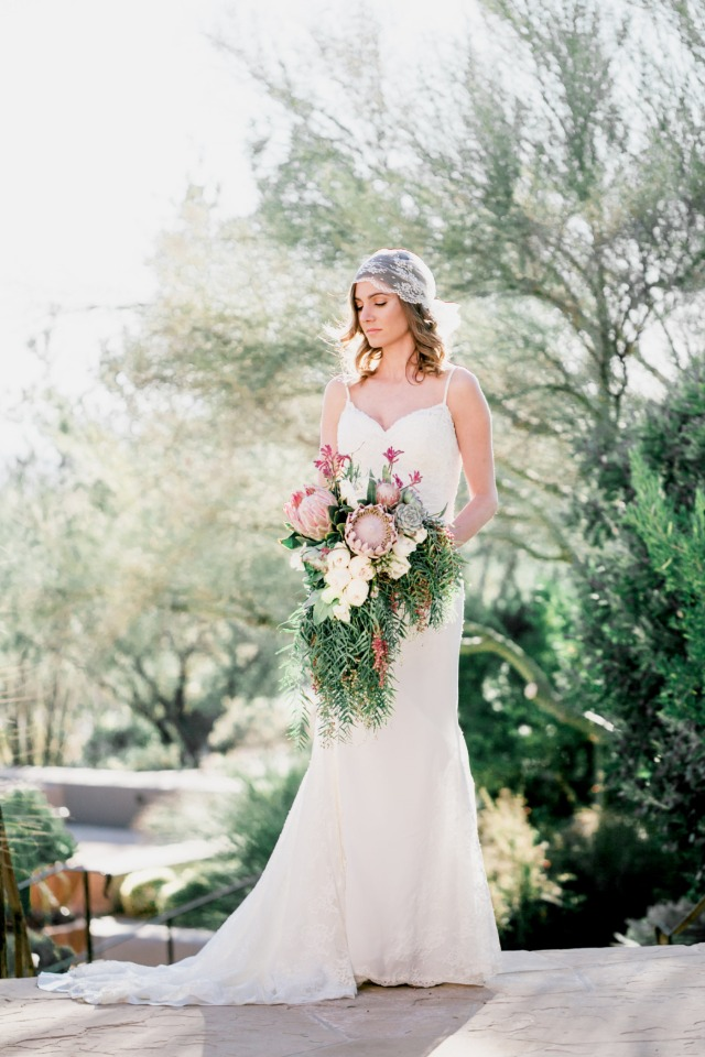 boho bride style in Bella Lily Bridal dress