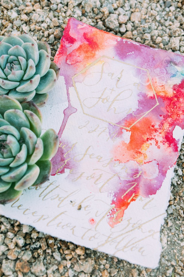 watercolor and calligraphy wedding invitations