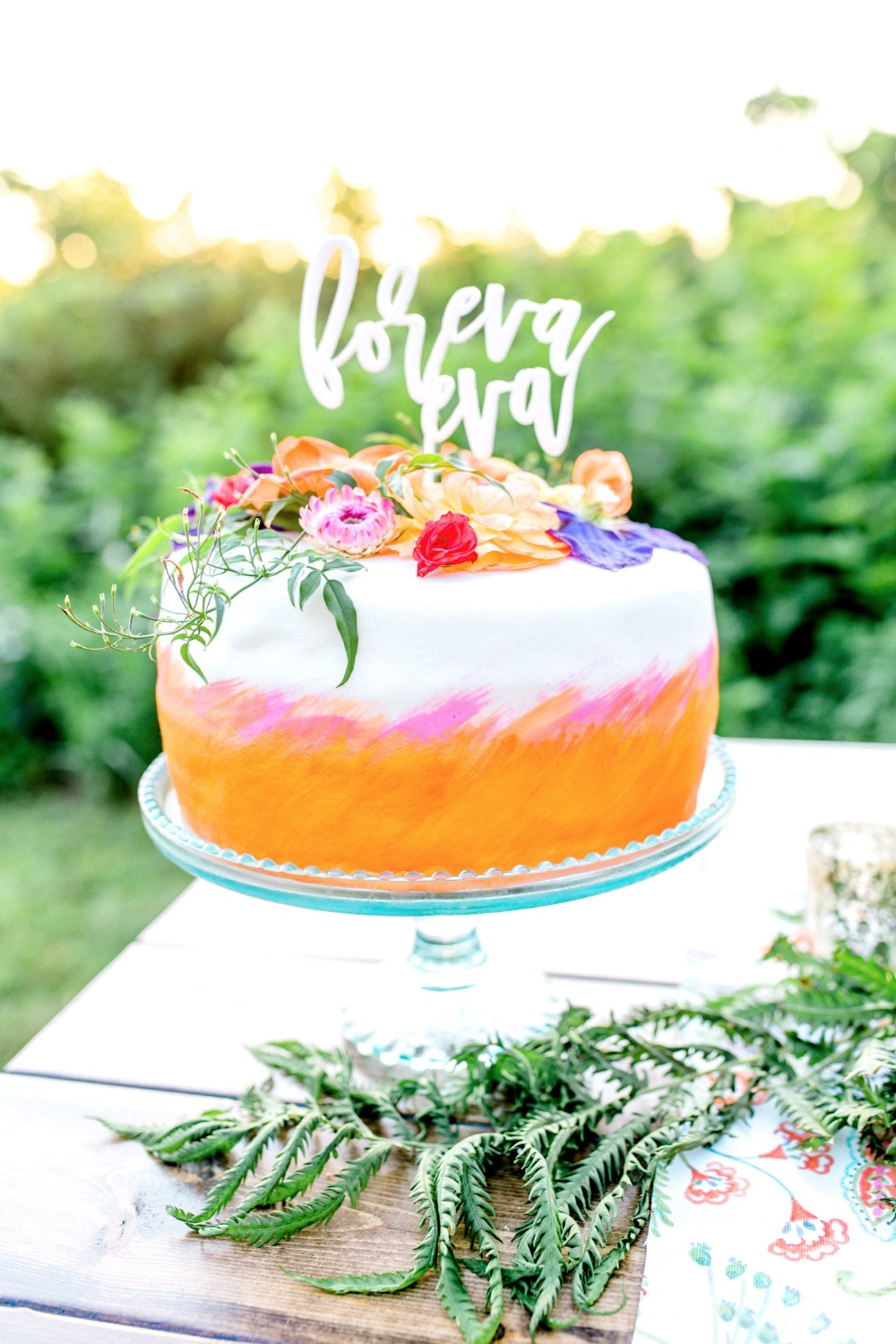 Pink and orange watercolor cake