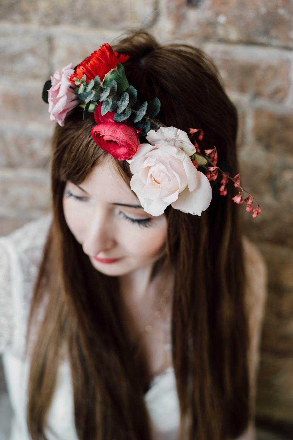 red pink and white floral crown