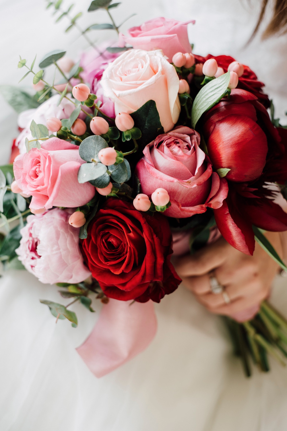 pink and red wedding rose bouquet