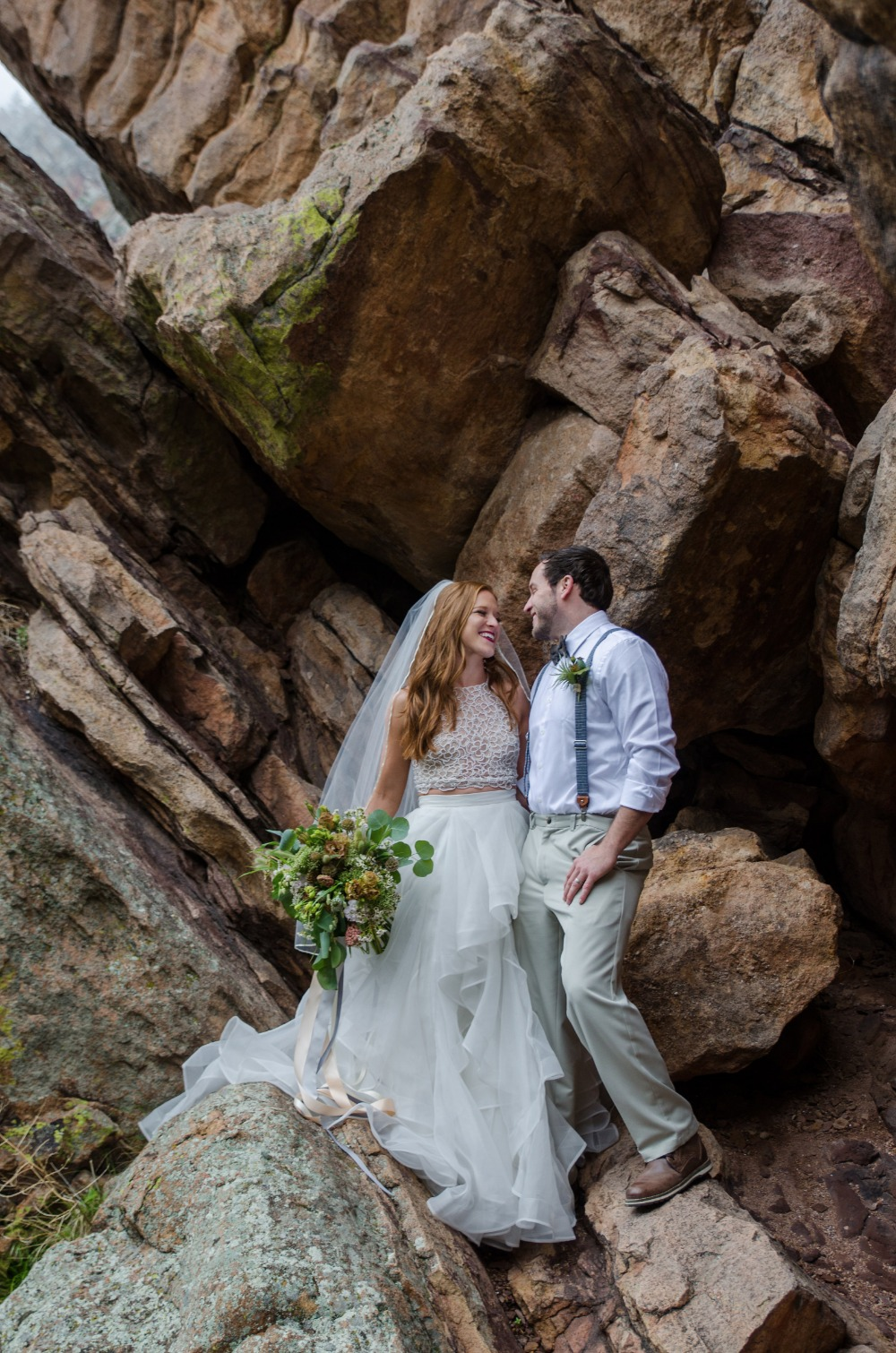 Rock climbing bride and groom photo