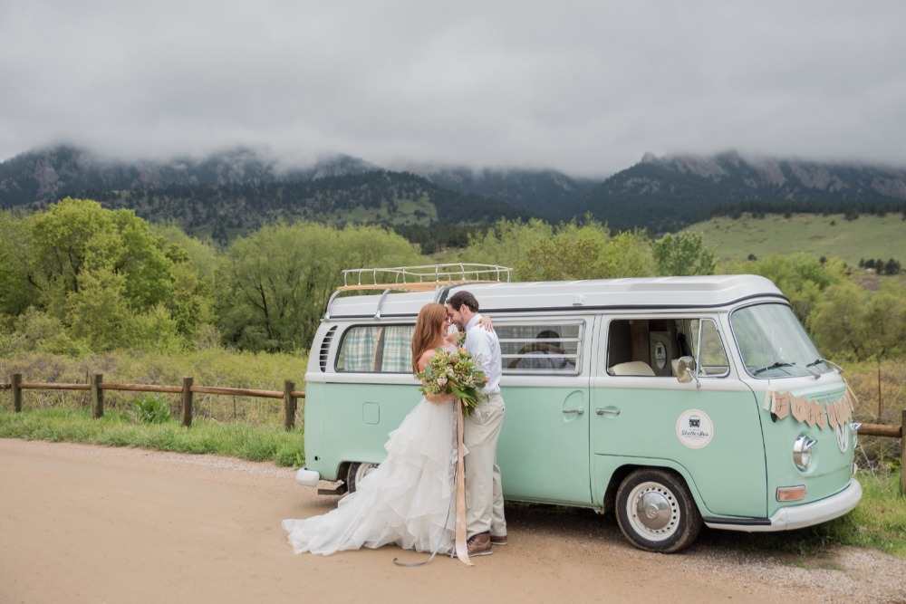 VW bus wedding transportation