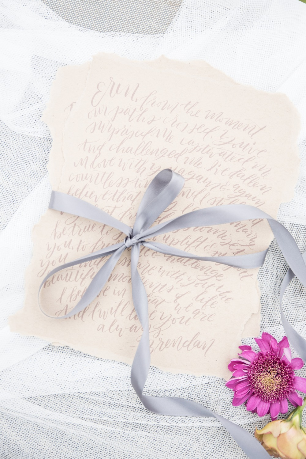 Bride and grooms love letters