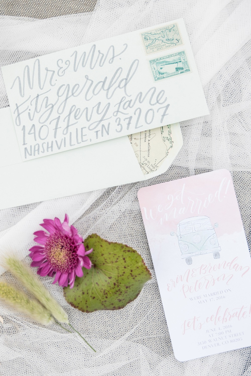 VW Bus inspired wedding invitation