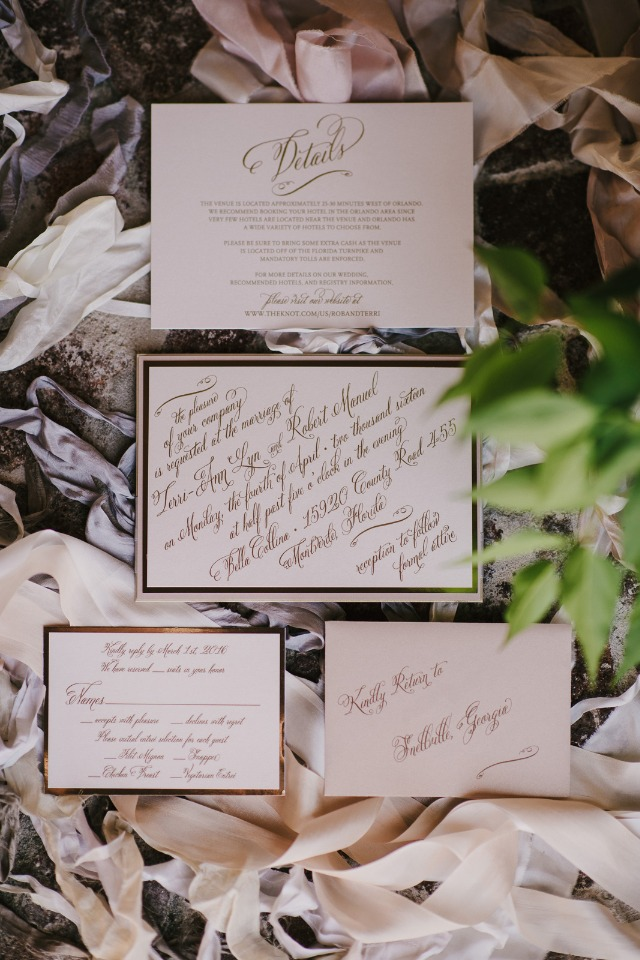 high class calligraphy wedding invitation suite