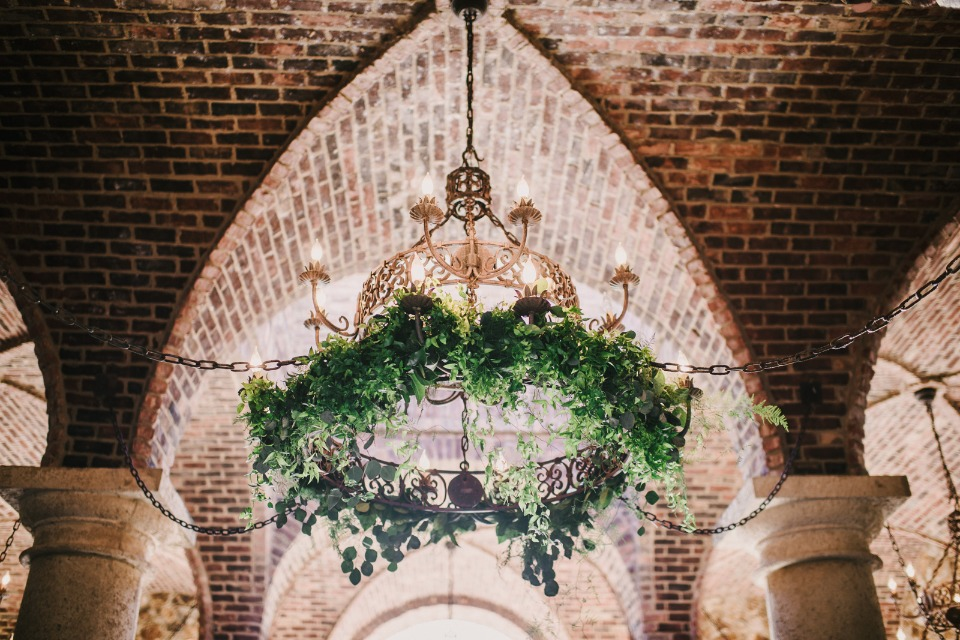 ivy covered chandelier