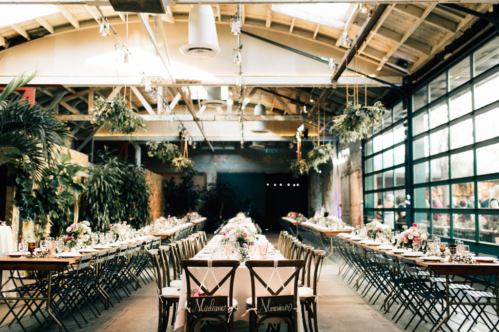 elegant wedding reception with an industrial edge
