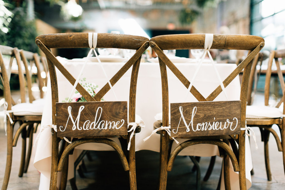 wooden script wedding chair signs