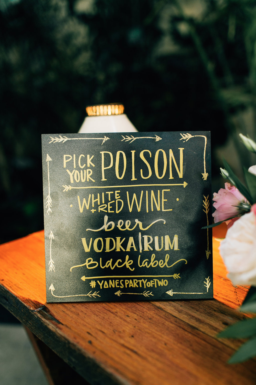 pick your poison drinks sign