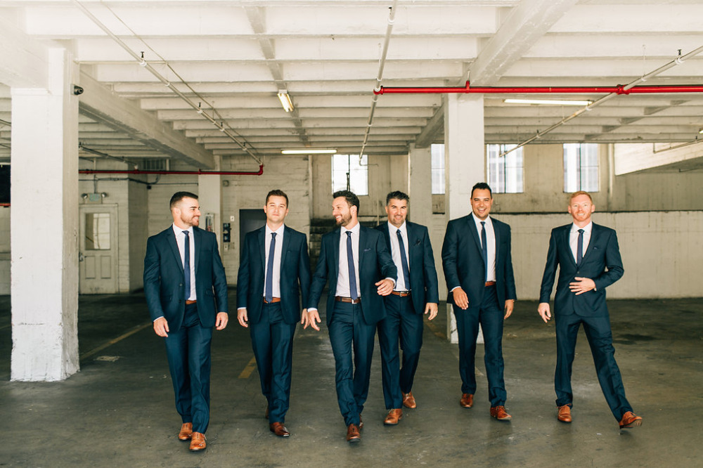 classic dark navy groomsmen attire