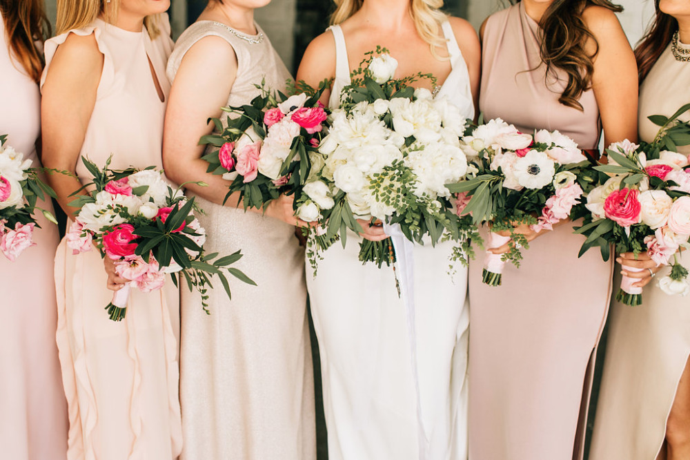 pink and white beautiful bridesmaid bouquets