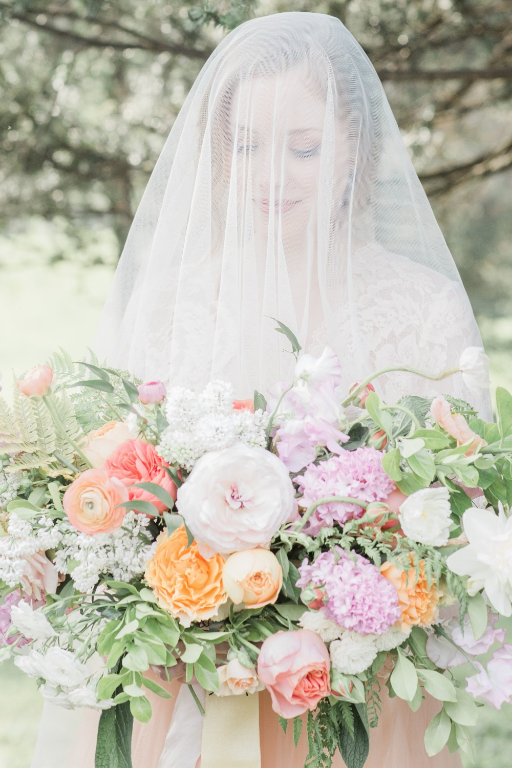 Veil bridal portrait idea