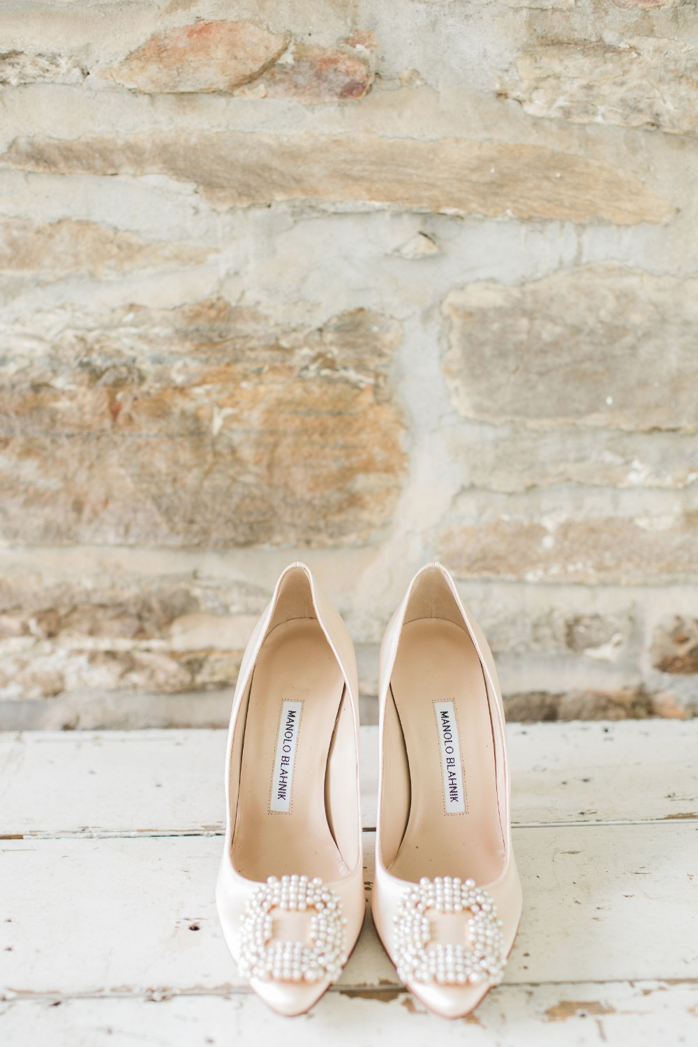 Wedding heels with pearl details