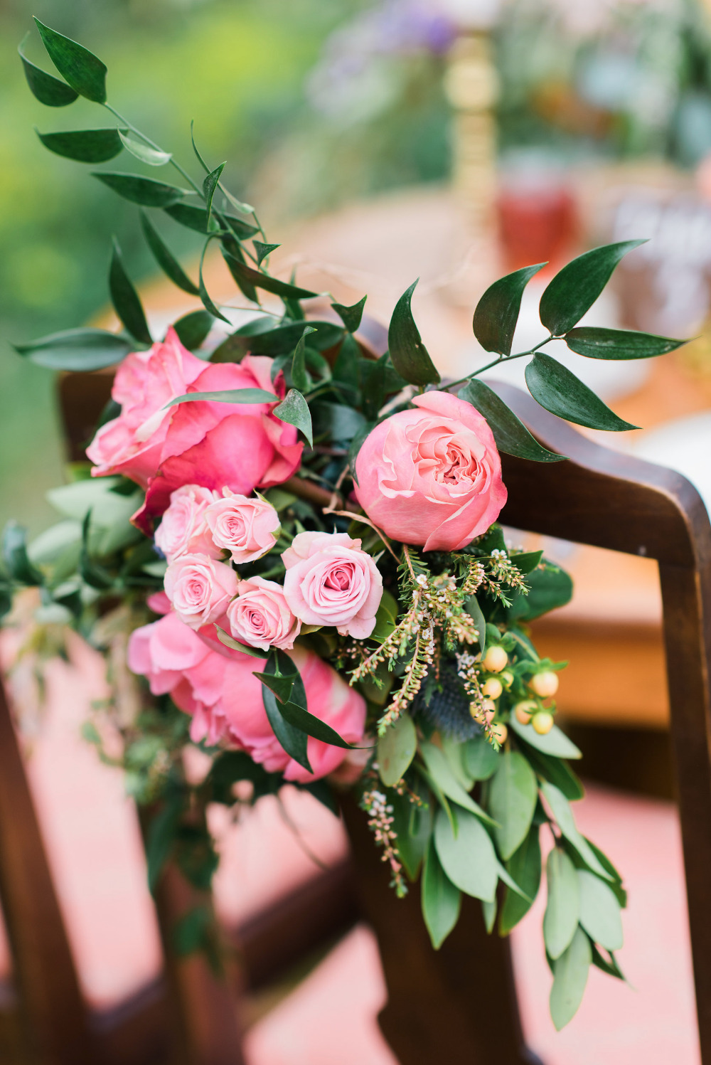 pink floral wedding chair decor