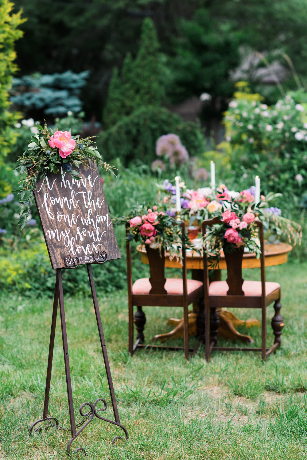 hand lettered wooden wedding signs