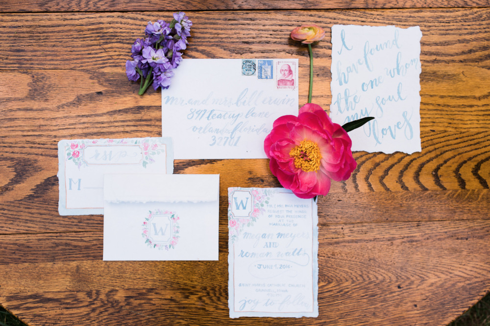 blue and pink watercolor wedding suite